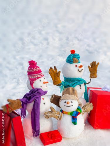 Snowmen Family Gift Presents Concept Winter Sale Banner