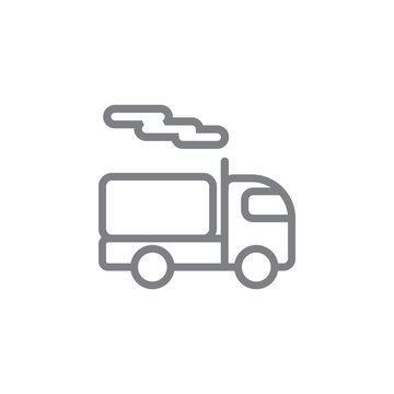 Container, oil, truck line vector icon. Element of pollution icon
