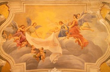 Fototapete - ACIREALE, ITALY - APRIL 10, 2018: The fresco Glory of holy Shroud in Basilica Collegiata di San Sebastiano by Francesco Mancini Ardizzone (1899 -1901).