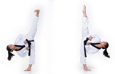 Master Black Belt TaeKwonDo instructor Teacher show traditional Fighting Act pose and warm up in White former dress, studio lighting white background isolated, copy space, motion blur on foots hands Wall mural