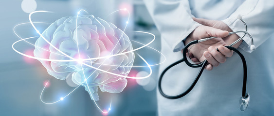 Hologram of human brain and doctor with stethoscope