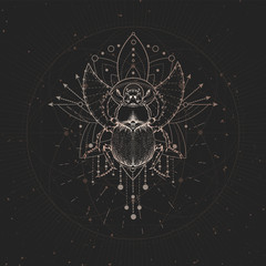 Vector illustration with hand drawn Scarab and Sacred geometric symbol on black vintage background. Abstract mystic sign.