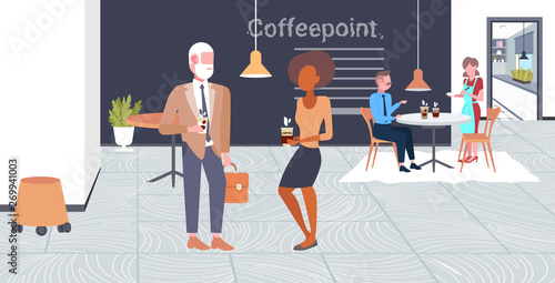 """mix Race Businesspeople Having Coffee Break Senior"