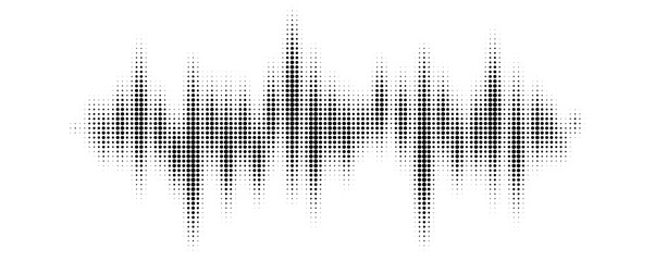 Black halftone pattern for screen blending mode. Halftone pattern audio waveform. Sound wave spectrum. Modern design rhythm of heart. Abstract dotted ornament isolated on white background