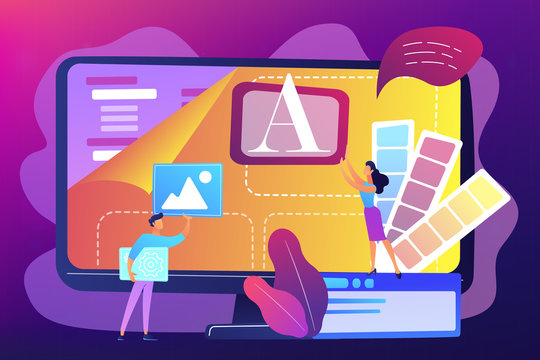 Programmers at computer using low code platform on computer, tiny people. Low code development, low code platform, LCDP easy coding concept. Bright vibrant violet vector isolated illustration
