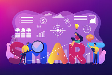 Tiny business people working on goals and sitting on smart word. SMART Objectives, objective establishment, measurable goals development concept. Bright vibrant violet vector isolated illustration