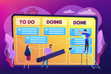 Tiny business people and manager at tasks and goals accomplishment chart. Task management, project managers tool, task management software concept. Bright vibrant violet vector isolated illustration