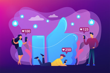 Tiny business people with smartphones and tablet getting like notifications. Likes addiction, thumbs-up dependence, social media madness concept. Bright vibrant violet vector isolated illustration
