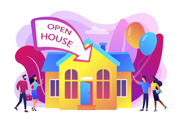 People going to housewarming party flat characters. Open house, open for inspection property, welcome to your new home, real estate service concept. Bright vibrant violet vector isolated illustration