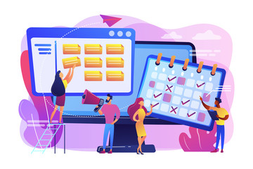 Time management, marketers teamwork. Media planning, media representation control, reach your client, best media plan for your brand concept. Bright vibrant violet vector isolated illustration