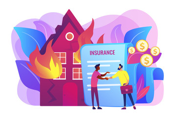 Burn house, flaming building. Insurance agent and customer flat characters. Fire insurance, fire economic losses, protect your property concept. Bright vibrant violet vector isolated illustration