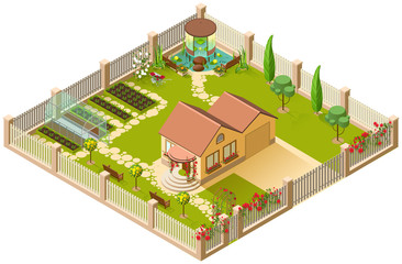 Country house and large garden with pergola, greenhouse and flowers. 3d isometric illustration