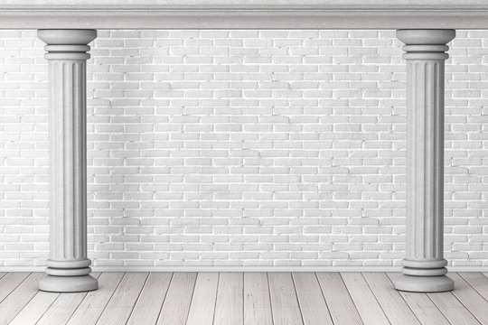 Two Ancient Classic Greek Columns as Frame. 3d Rendering