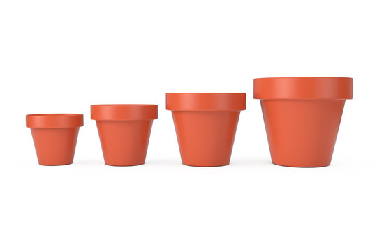 Different Size Set of Empty Brown Unpainted Clay Flower Pots. 3d Rendering