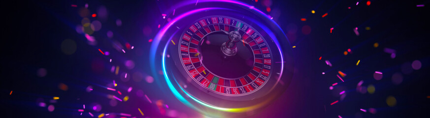 Illustration, Roulette wheel of casino element isolation banner.