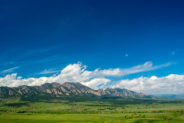 The Flatirons Mountains in Boulder, Colorado on a Sunny Day Wall mural