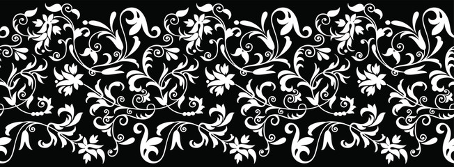 Seamless black and white vintage floral border