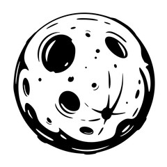 Full moon cartoon with big craters in black and white colors isolated