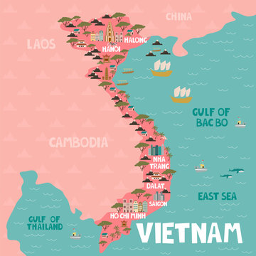 Illustrated map of Vietnam with cities and landmarks. Editable vector illustration