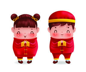 Chinese children personality. girl and boy in red cheongsam dress. Gestures of respect and greetings of Chinese culture. smiling. Cute traditional costume style.