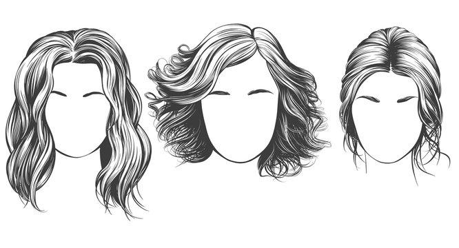 girl set, beautiful woman face hand drawn vector illustration sketch