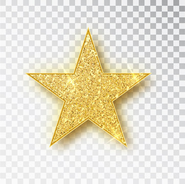 Gold glitter star vector isolated. Golden sparkle luxury design element isolated. Icon of star isolated. New Year s decor element. Ramadan design element Template