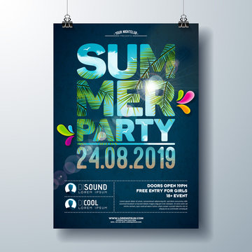 Summer Party Flyer Design with palm trees and ocean landscape in cutting Typography Letter. Vector Summer nature floral elements and tropical plants on blue cloudy sky background. Design template for