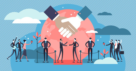 Diplomacy vector illustration. Flat tiny politic friendship persons concept