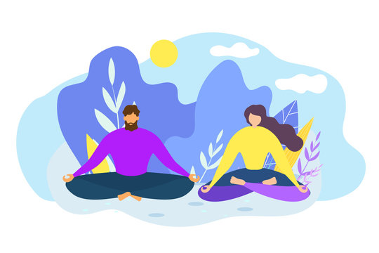 Cartoon Man Woman Meditate Outdoors Nature Harmony