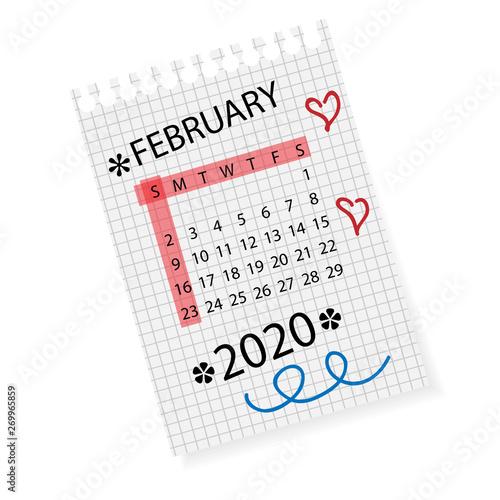 February 2020 Calendar Modify Calendar for February 2020. Vector calendar template on checkered