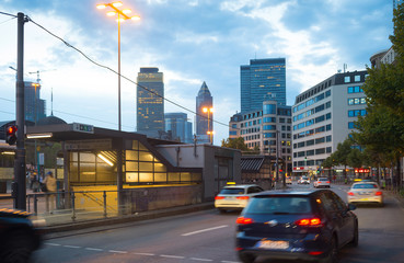 Fototapete - Traffic road Downtown Frankfurt Germany