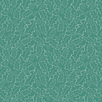 Beautiful hand drawn white line art oak leaves on teal green background. Seamless vector pattern. Perfect for wellness, summer, cosmetic products, fabric, texture, giftwrap, stationery.