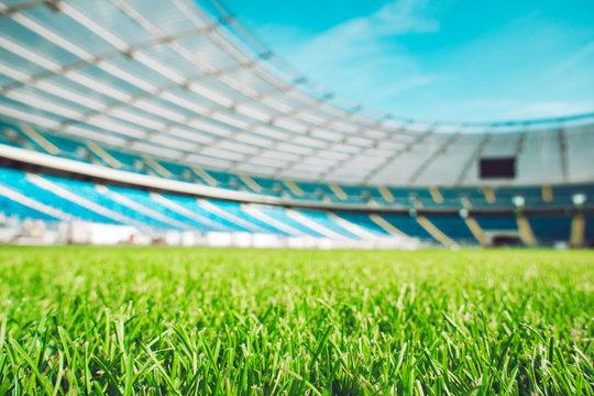 Close up macro of soccer or football field.