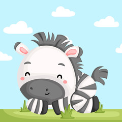 a vector of a adorable zebra relaxing in the grass