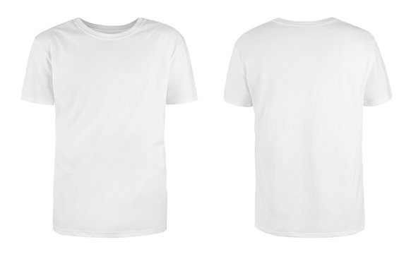 Men's white blank T-shirt template,from two sides, natural shape on invisible mannequin, for your design mockup for print, isolated on white background..
