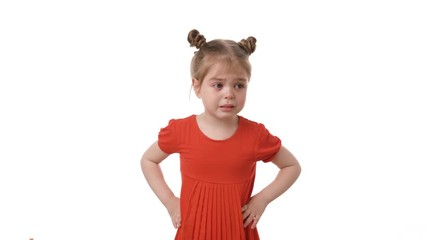 4221f96661f47 0:08 Video portrait of little girl crying in the red dress isolated on white  background. Childhood
