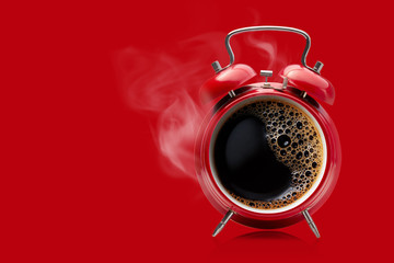 Red alarm clock with hot black coffee. Wall mural