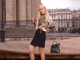 The fashion girl in the Paris city