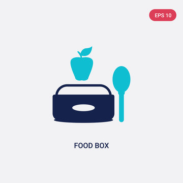 two color food box vector icon from bistro and restaurant concept. isolated blue food box vector sign symbol can be use for web, mobile and logo. eps 10