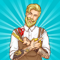 Barbershop professional hairdresser pop art vector. Half-length portrait of stylish, blond, bearded hipster man wearing apron on white shirt, holding scissors and comb in tattooed hands illustration