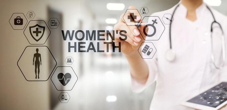 Women's health. Medical Healthcare concept on virtual screen.