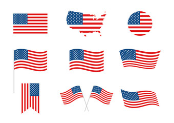 USA Independence Day 4th of July holiday. United states of America flag. Independence day elements, banner, map, flag. Memorial day. American background. Vector illustration.