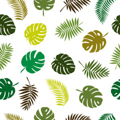 Seamless pattern with tropical plant leaves. Modern random colors.