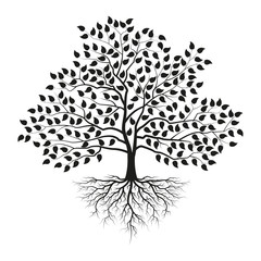 Tree with roots and leaves. Black silhouette. Vector illustration.