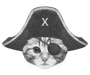 Portrait of Cat with pirate hat and eye patch. Hand-drawn illustration.