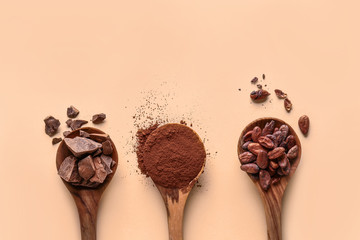 Spoons with cocoa powder, beans and chocolate on light background