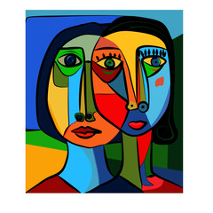 Obraz Colorful abstract background, cubism art style, double portrait - fototapety do salonu
