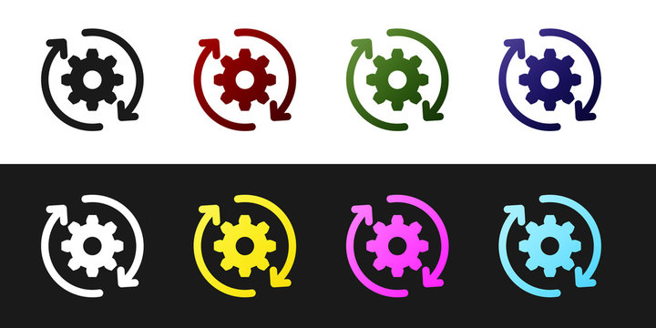 Set Gear and arrows as workflow concept icon isolated on black and white background. Gear reload sign. Vector Illustration