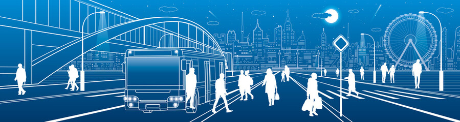 City scene, people walk down the street, passengers leave the bus, night city, Illuminated highway, transitional arch bridge on background. Outline vector illustration