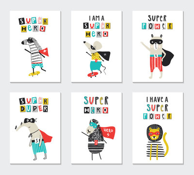 Super Hero - collection of nursery posters with cute and fun kids super hero animals and lettering. Vector illustration